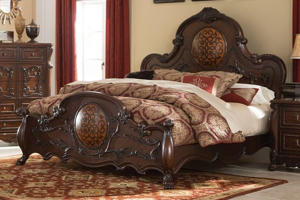 Abigail Cherry Wood Cal King Size Panel Bed CST-204450KW