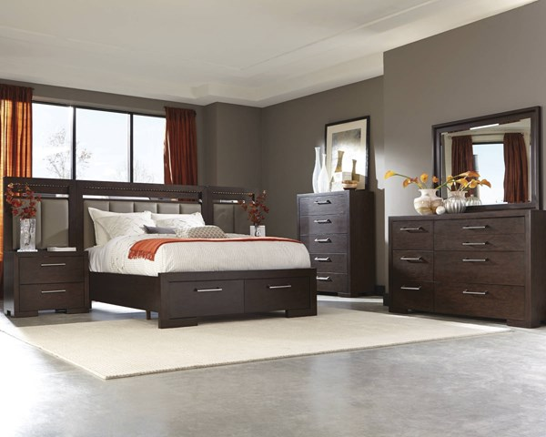Berkshire Chocolate Wood 2pc Bedroom Set W/LED Light Queen Storage Bed CST-20446-BR-S1