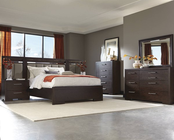 Berkshire Chocolate Wood 5pc Bedroom Set w/LED Lighting Cal King Bed CST-20446-BR-S6