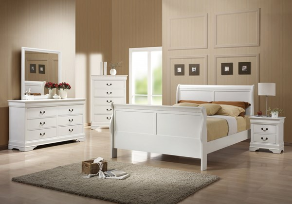 Louis Philippe Classic White Wood Master Bedroom Set CST-204691M