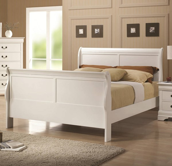 Louis Philippe Classic White Wood Queen Size Bed CST-204691Q