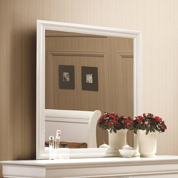 Louis Philippe Classic White Wood Mirror CST-204694