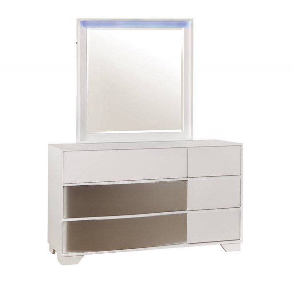 Havering Contemporary Blanco Wood Mirror Dresser & Mirror CST-20474-DRMR