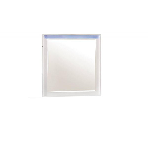 Havering Contemporary Blanco Wood LED Lighting Mirror CST-204744