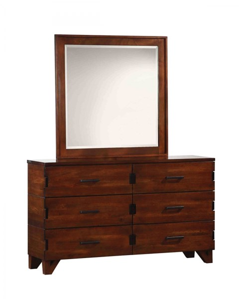Yorkshire Contemporary Coffee Bean Wood Glass Dresser & Mirror CST-20485-DRMR