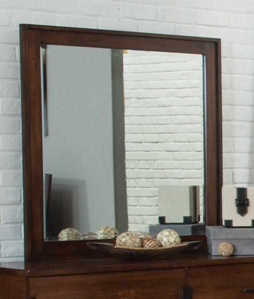 Yorkshire Contemporary Coffee Bean Wood Glass Mirror CST-204854