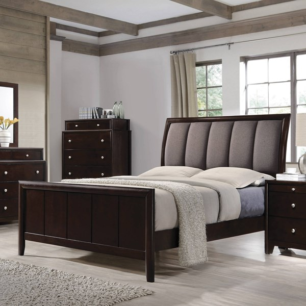 Madison Transitional Dark Merlot Wood Fabric Upholstered Beds CST-20488-BEDS