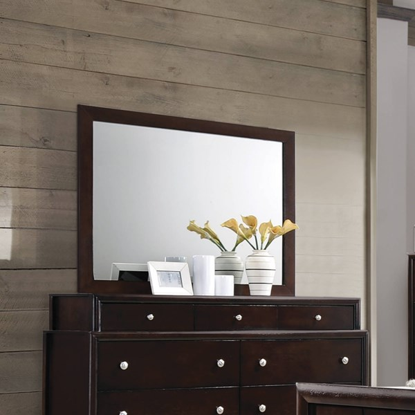 Madison Transitional Dark Merlot Wood Glass Mirror CST-204884