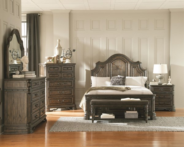 Carlsbad Traditional Dark Brown Wood 2pc Bedroom Set W/King Bed CST-2040-BR-S5