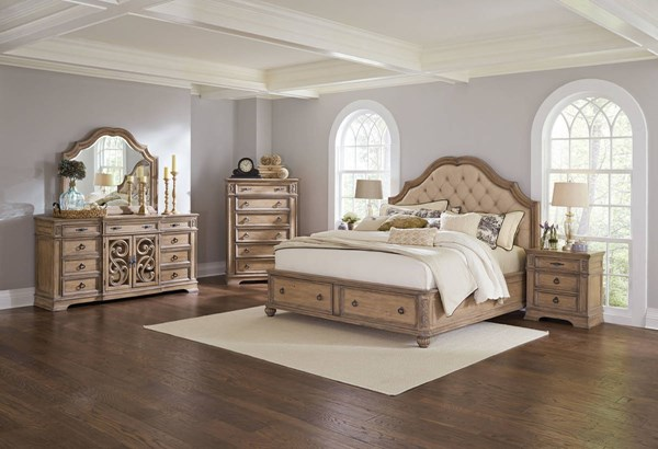 Ilana Cream Antique Linen Pine Wood Master Bedroom Set CST-205070-BR