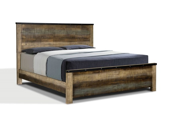 Sembene Rustic Brown Blue Gray Hardwood Beds CST-205091-BED-VAR