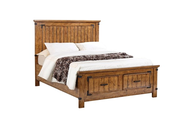 Brenner Rustic Natural Honey Rubberwood Storage Beds CST-205260-VAR