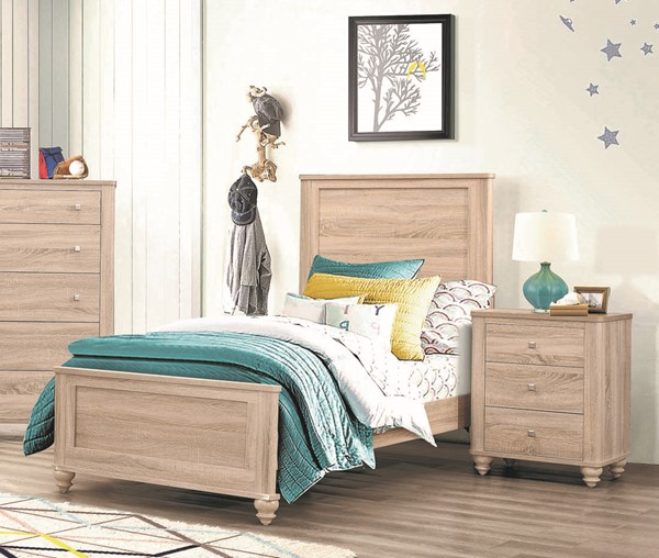 Coaster Furniture Wenham Natural Oak 2pc Bedroom Set with Twin Bed CST-20546-BR-S1