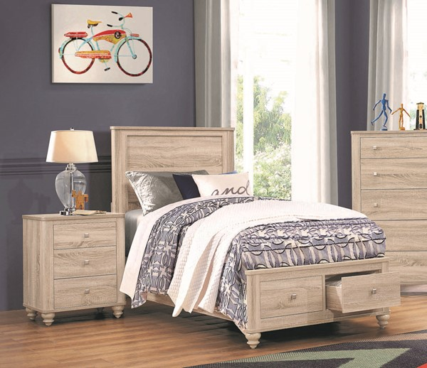 Coaster Furniture Wenham Natural Oak 2pc Bedroom Set with Twin Storage Bed CST-20546-BR-S5