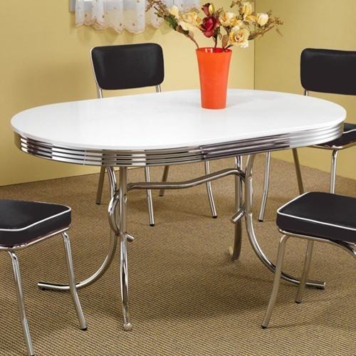 Contemporary White Metal Oval Dining Table CST-2065