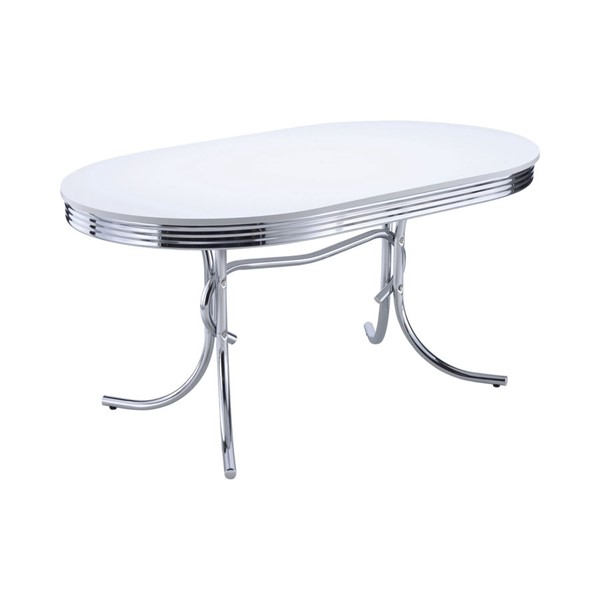 Coaster Furniture Retro White Metal Oval Dining Table CST-2065