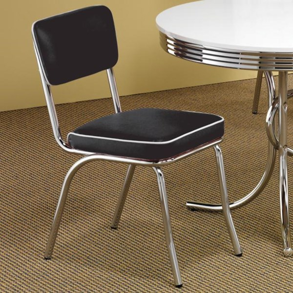 2 Contemporary Black Red Metal Side Chairs CST-2066-DC-VAR
