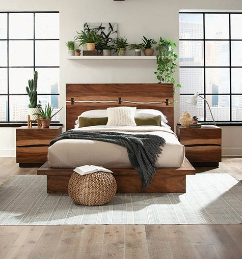 Coaster Furniture Madden Smokey Walnut 2pc Bedroom Set With Queen