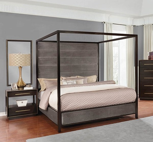 Coaster Furniture Luddington Smoked Peppercorn 2pc Bedroom Set with Cal King Canopy Bed CST-215710-BR-S3