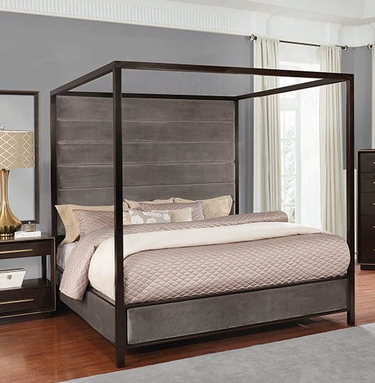 Coaster Furniture Luddington Smoked Peppercorn King Canopy Bed CST-215710KE