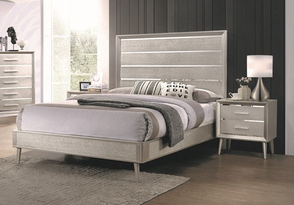 Coaster Furniture Ramon Metallic Sterling 2pc Bedroom Set with King Bed CST-22270-BR-S4