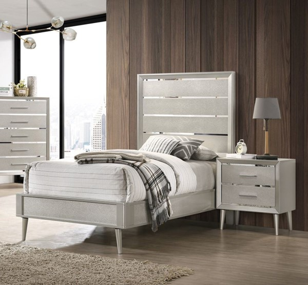 Coaster Furniture Ramon Metallic Sterling 2pc Bedroom Set with Twin Bed CST-22270-BR-S1