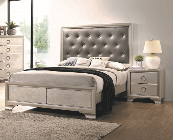 Coaster Furniture Salford Metallic Sterling 2pc Bedroom Set with King Bed CST-22272-BR-S2