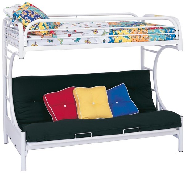 Glossy White Metal Twin/Fullton Bunk Bed CST-2253W