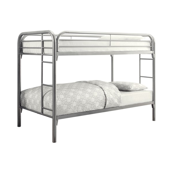 Coaster Furniture Morgan Silver Twin Over Twin Bunk Bed with Ladder CST-2256V