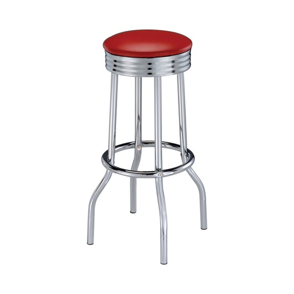 2 Coaster Furniture Retro Red Cushion Bar Stools CST-2299R