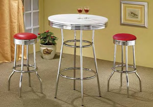 Retro White Red Chrome Metal 3pc Counter Height / Bar Sets CST-2300-BAR-S1