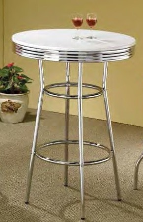 Retro White Chrome Metal Round Solid Top Bar Table CST-2300