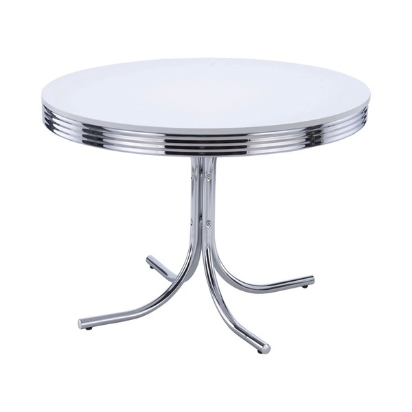 Coaster Furniture Retro White Metal Round Dining Table CST-2388