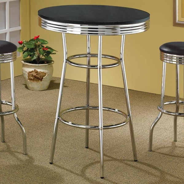 Retro Silver Metal Solid Top Bar Table CST-2405