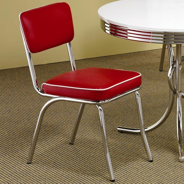 2 Contemporary Red Metal Solid Back Side Chairs CST-2450R