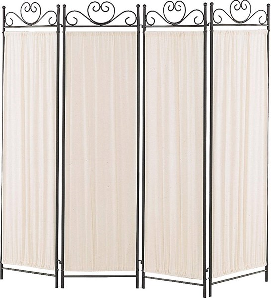 Black Gold Metal 4 Panel Room Divider / Folding Screen CST-2710