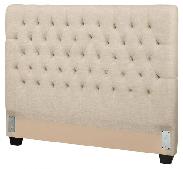Chloe Traditional Oatmeal Wood Fabric Twin Headboard CST-300007TB1