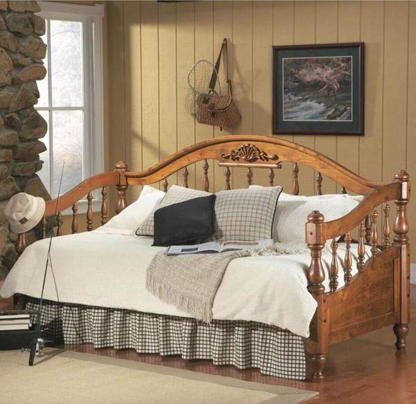 Traditional Distress Brown Wood Daybed w/Link Spring CST-300016-C