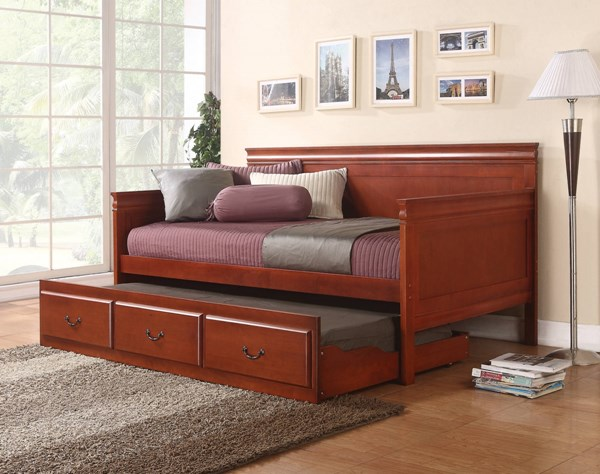 Traditional Solid Wood Cherry Framed Twin Daybed W/Trundle CST-300036CH