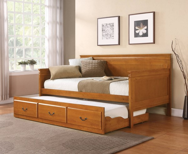 Traditional Solid Wood Oak Framed Twin Daybed W/Trundle CST-300036OAK