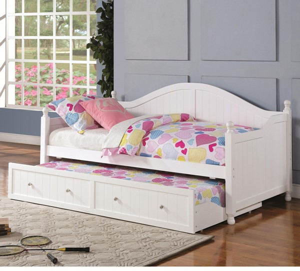 Traditional White Wood Daybed w/Curved Back CST-300053