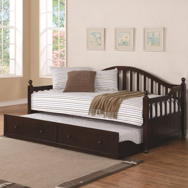 Traditional Cappuccino Wood Daybed W/Trundle CST-300090