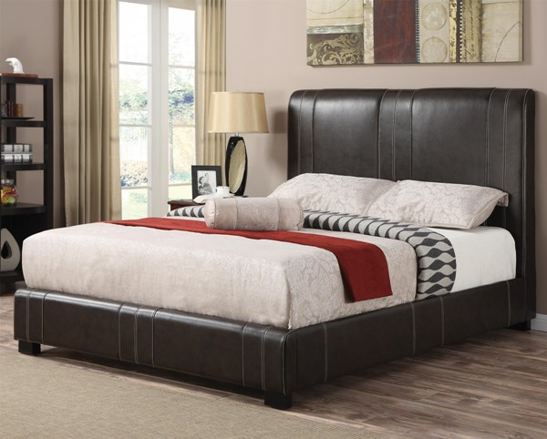 Caleb Transitional Dark Brown Wood Leatherette Cal King Bed CST-300123KW