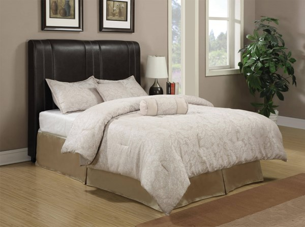 Caleb Transitional Dark Brown Wood Leatherette King Headboard w/Frame CST-300123KEB1-FRAME