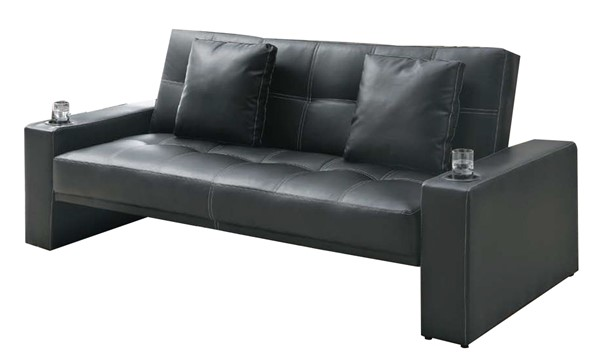 Coaster Furniture Black Faux Leather Sofa Bed CST-300125