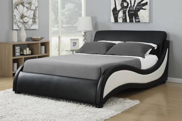 Niguel Black White Wood Faux Leather Cal King Bed CST-300170KW
