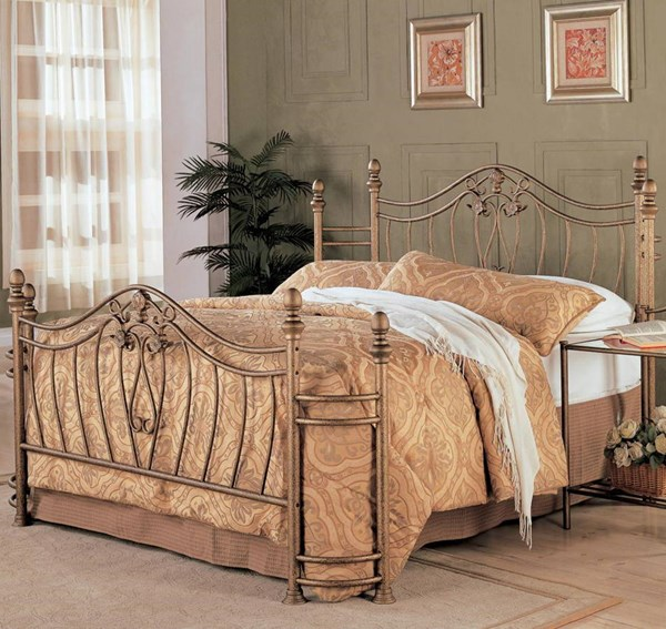 Sydney Traditional Antique Brushed Metal Cal King Bed w/Frame CST-300171KW-BED