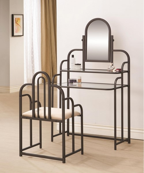 Traditional Brown Glass Metal 2pc Vanity Set CST-300180
