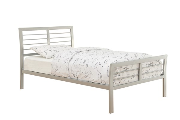 Ion Modern Silver Metal Iron Sleigh Queen Bed CST-300201Q