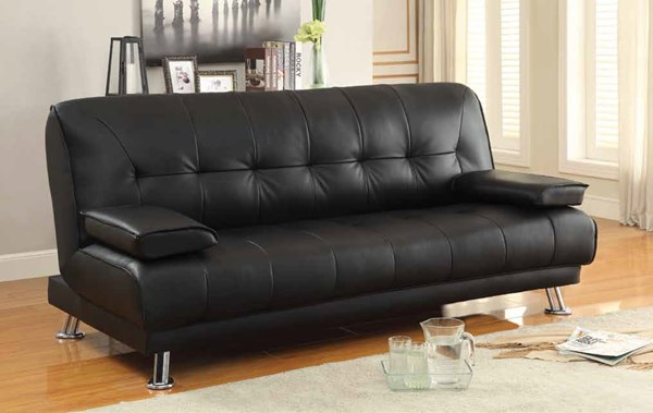 Braxton Transitional Black Faux Leather Fabric Sofa Bed CST-300205